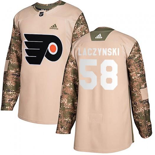 Tanner Laczynski Philadelphia Flyers Men's Adidas Authentic Camo Veterans Day Practice Jersey