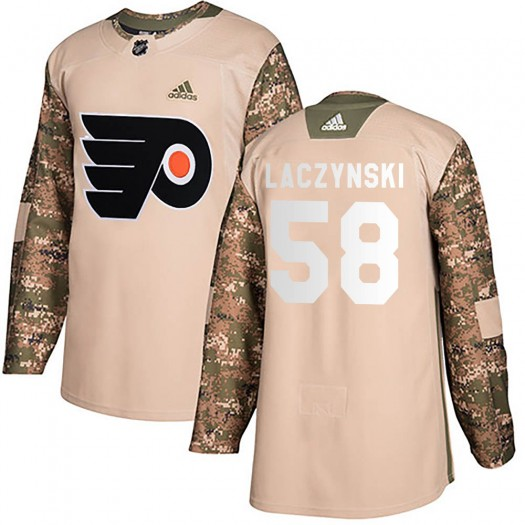 Tanner Laczynski Philadelphia Flyers Youth Adidas Authentic Camo Veterans Day Practice Jersey