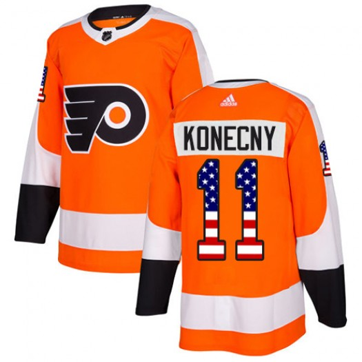 Travis Konecny Philadelphia Flyers Men's Adidas Authentic Orange USA Flag Fashion Jersey