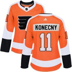 Travis Konecny Philadelphia Flyers Women's Adidas Authentic Orange Home Jersey