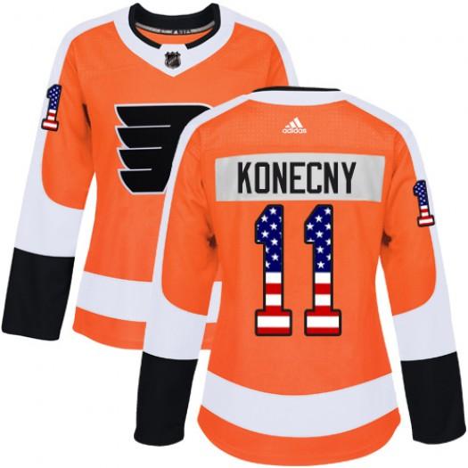 Travis Konecny Philadelphia Flyers Women's Adidas Authentic Orange USA Flag Fashion Jersey