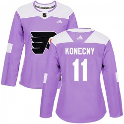 Travis Konecny Philadelphia Flyers Women's Adidas Authentic Purple Fights Cancer Practice Jersey