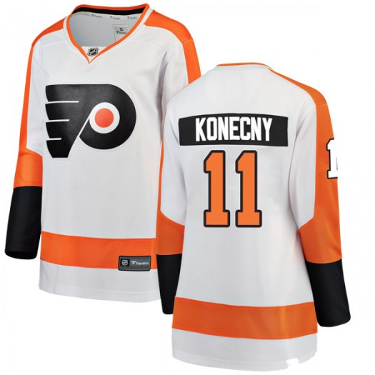 Travis Konecny Philadelphia Flyers Women's Fanatics Branded White Breakaway Away Jersey
