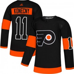 Travis Konecny Philadelphia Flyers Youth Adidas Authentic Black Alternate Jersey
