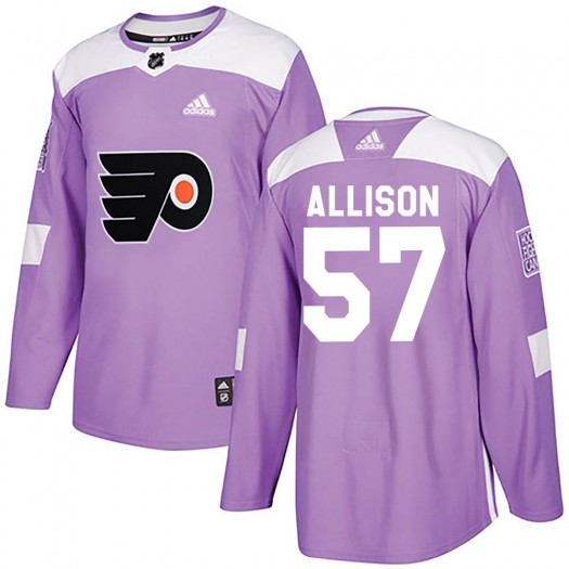 Wade Allison Philadelphia Flyers Youth Adidas Authentic Purple Fights Cancer Practice Jersey