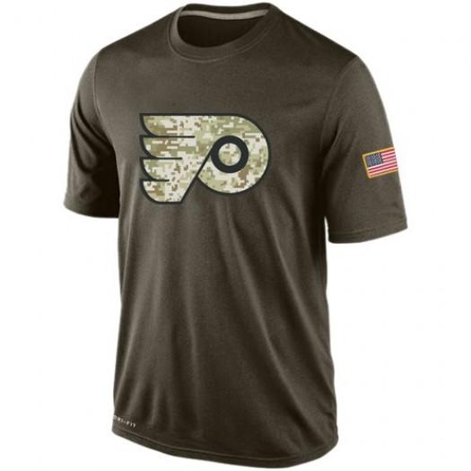 Philadelphia Flyers Men's Nike Olive Salute To Service KO Performance Dri-FIT T-Shirt