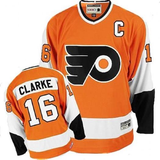 Bobby Clarke Philadelphia Flyers Men's CCM Authentic Orange Throwback Jersey