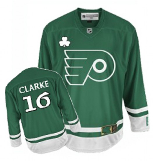 Bobby Clarke Philadelphia Flyers Men's Reebok Authentic Green St Patty's Day Jersey