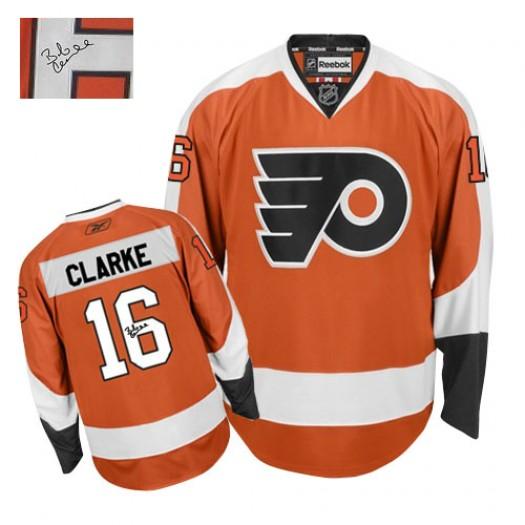 Bobby Clarke Philadelphia Flyers Men's Reebok Authentic Orange Home Autographed Jersey